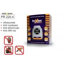 Aparat cu ultrasunete anti jderi si dihori, lilieci, vulpi, soareci, sobolani, veverite PR 220.4 Electronic Pest Repeller - 360 mp