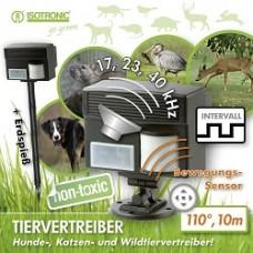 Aparat electronic cu ultrasunete și senzor PIR 60035 pentru alungarea animalelor, câini, pisici, păsări, iepuri, porci mistreți, căprioare, rozătoare 100 mp