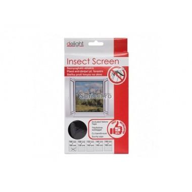 Plasă anti insecte pentru ferestre 100x130 cm - albă/neagră