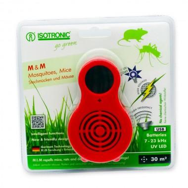 Aparat portabil cu UV  (anti tânțari, muște, purici, musculițe de oțet) și ultrasunete (anti șoareci, șobolani) Isotronic MM 77010 30 mp