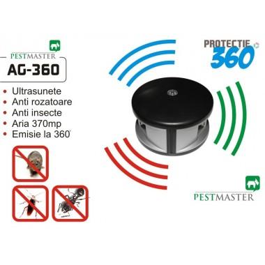 Aparat cu ultrasunete împotriva șoarecilor și gândacilor cu emitere frecvență pe 360 grade - 370 mp